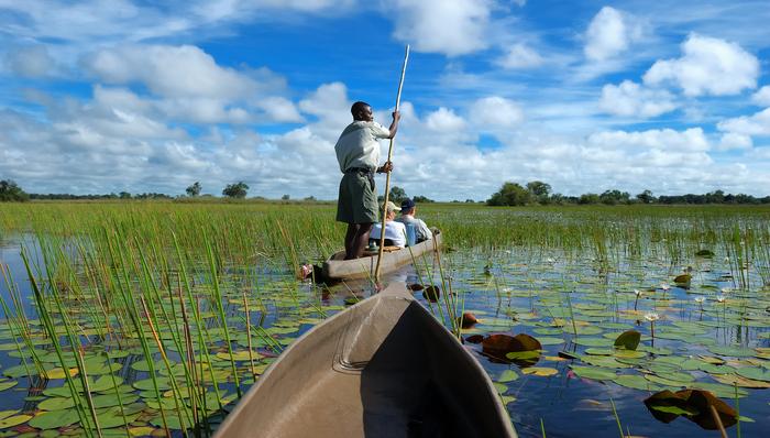 Mokoro boat ride inOkavango Delta Botswana