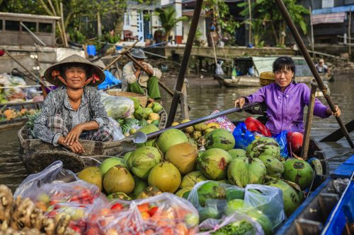 Mekong Delta floating market, Vietnam