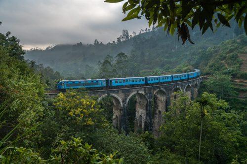 Train passing through Ella, Sri Lanka