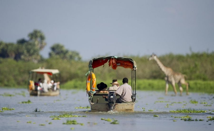 Boat safari Lake Manze Camp