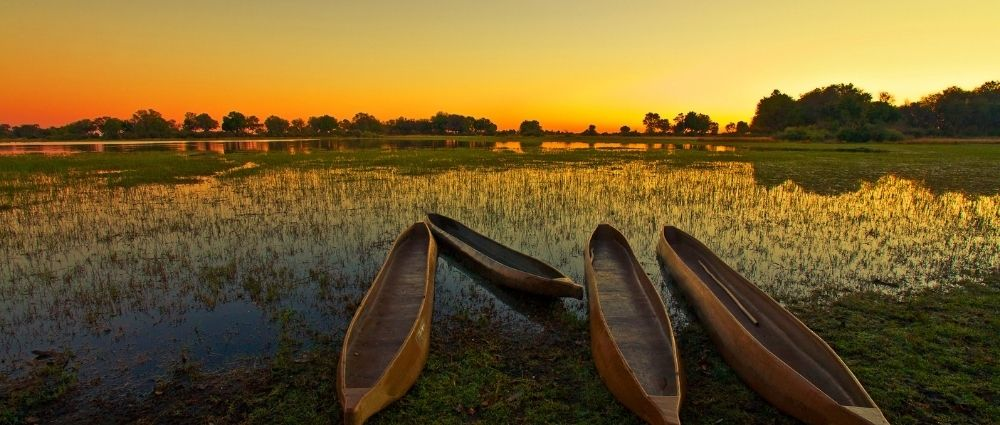 Okavango Delta atsunset, Botswana