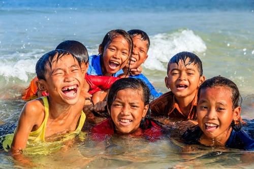 Cambodian children at the beach