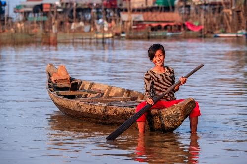 Friendly locals, smiles, Tonle Sap, Siem Reap
