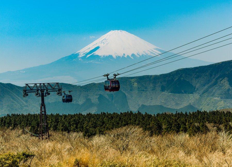 Hakone Ropeway & Mount Fuji in background, Japan