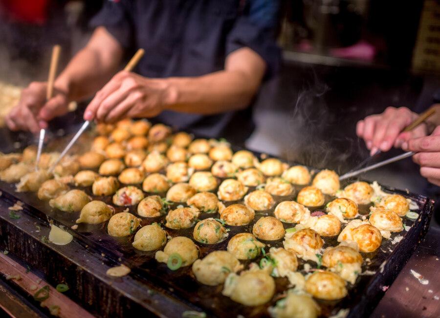 Takoyaki octopus dumplings, Osaka, Japan