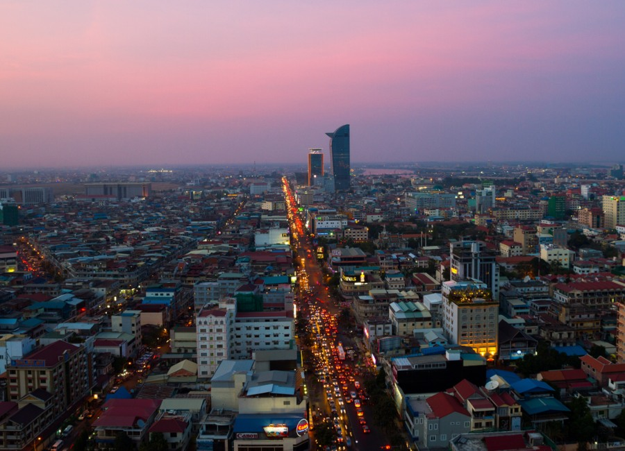 Night view of Phom Penh, Cambodia