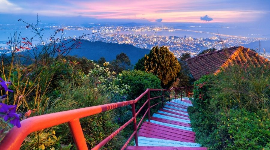 George Town City view from Penang Hill, Malaysia