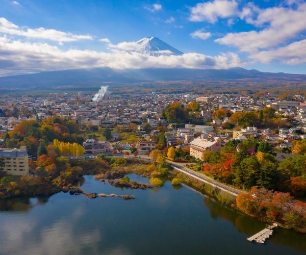 Fuji Kawaguchiko, Japan from above