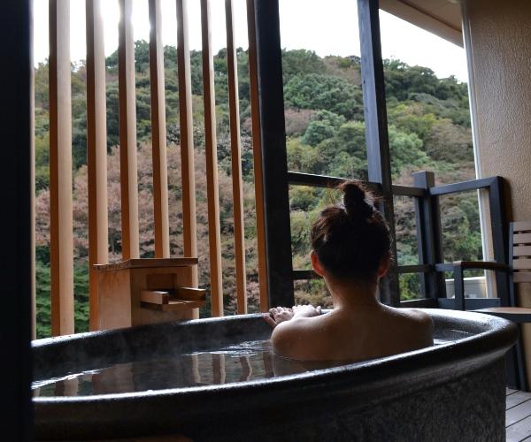 Relaxing in a ryokan, Hakone, Japan
