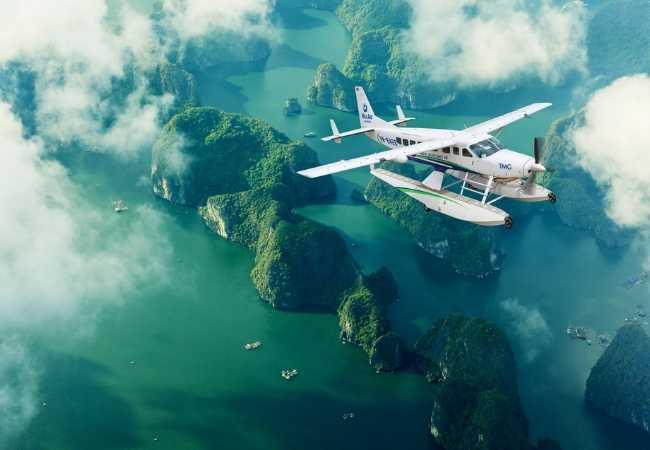 Seaplane over Halong Bay, Vietnam